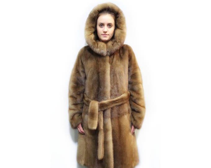Mink Full Skin Pelt Coat,Hooded Long Coat