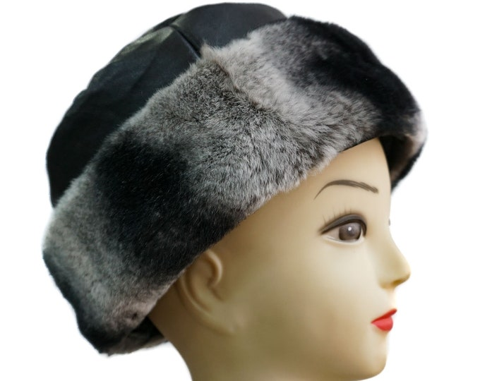 Real Leather Hat with Rex Rabbit F740