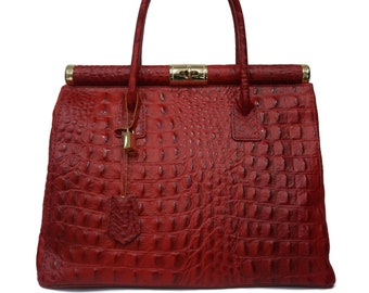 Genuine Leather Bag, Red Leather Bag With Gold Details F1046