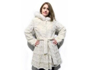 Sculptured Fur Coat - Mink Fur with Fox Fur Hood F248