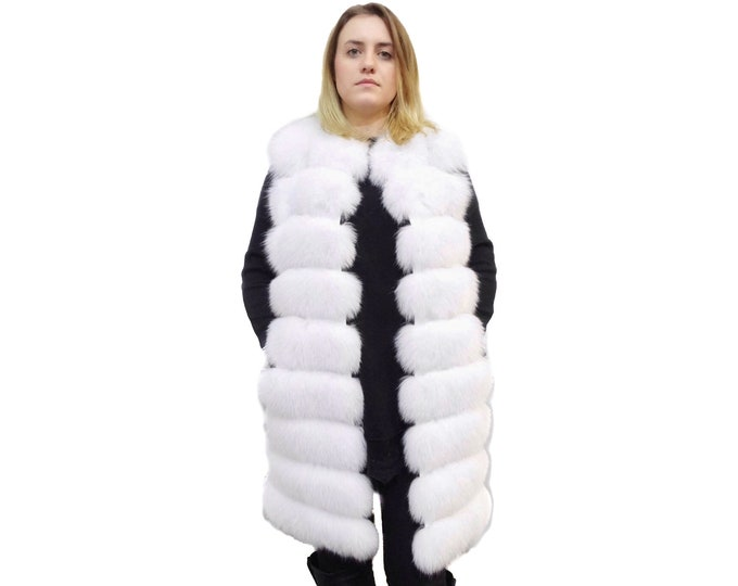 Luxury White Fox Vest with Leather Stripes