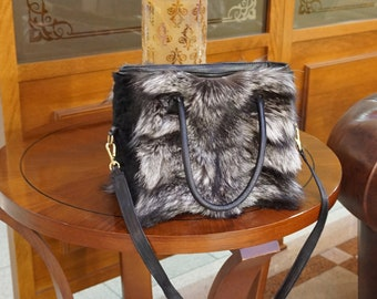 Silver fox fur handbag, Shoulder handbag F857