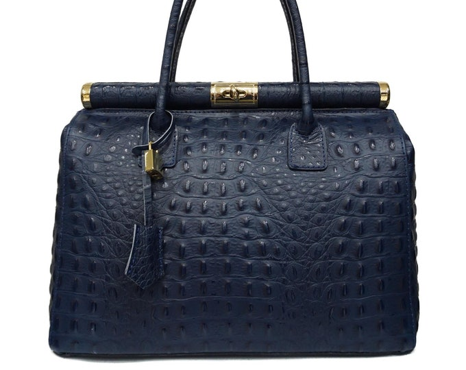 Genuine Leather Bag, Blue Leather Bag With Gold Details