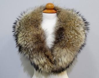 Real Fin Raccoon Fur Large Collar,Scarfs fur,Wrap fur,Scarves fur,Woman Collar,Fur Collar,fur for Leather Jacket,real fur collar F739