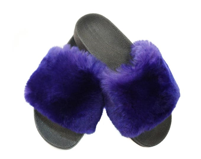 Rex Fur Slides, Fur Slippers F844