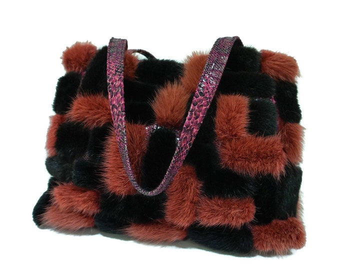 Real Black & Orange Mink fur tote bag F988