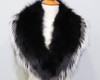 Real Large Fox Fur Collar,Black Fur for Leather Jacket