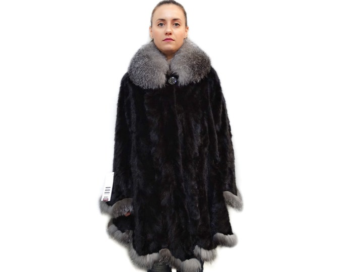 Plus size sheared mink fur cape