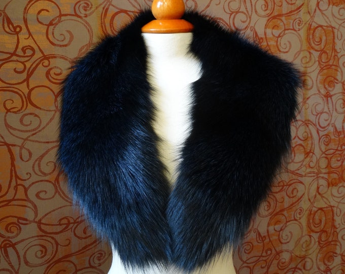 Large BlueBlack Fox Fur Collar F915