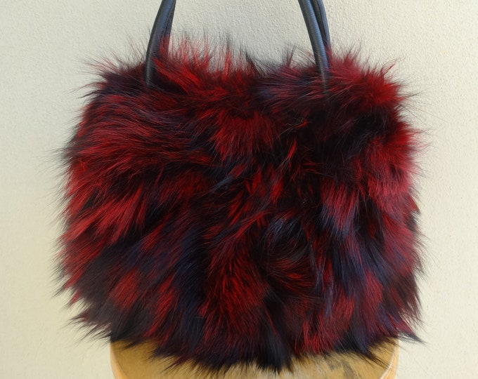 Real RedBlack fox fur tote bag F906