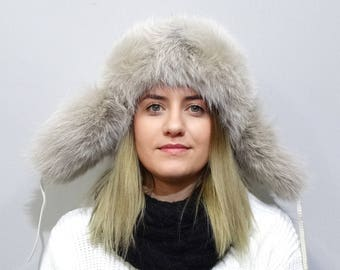 Unisex Russia Fur and Leather Hat, Ushanka F759