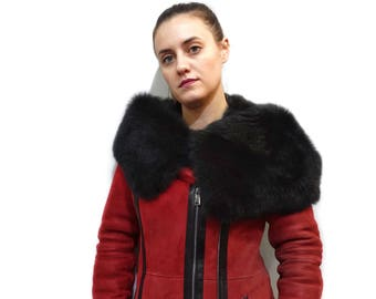Red Mouton Hooded Coat  F729