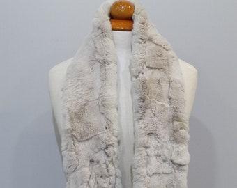 """""""Trendi"""" Real Fur Scarf Rex Rabbit F858"""