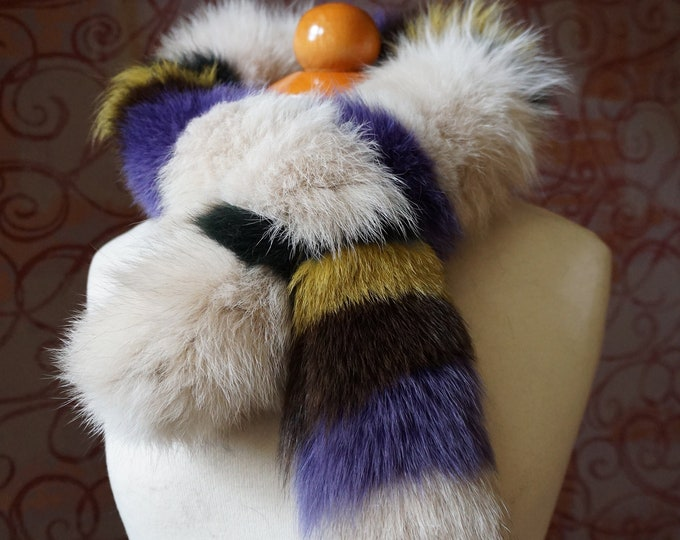"""Trendi"" Fox fur scarf - Colorful Scarf F992"
