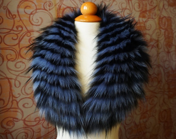 Real large fox fur collar, Leather jacket collar F476