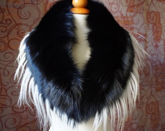 Large Black & White Fox Fur Collar F990
