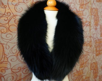 Large Black Fox Fur Collar F921