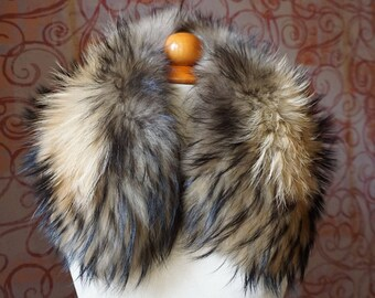 Fur Collar Gift For Her | Natural Fur Fox Accessories | Black Fur Collar