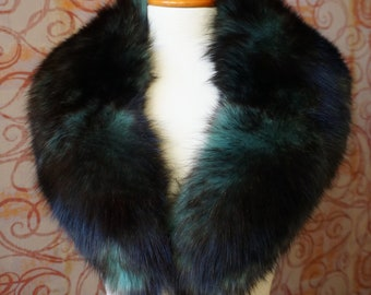 Large GreenBlack Fox Fur Collar F977