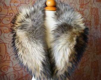 Real Large Fin Raccoon Fur Collar F739