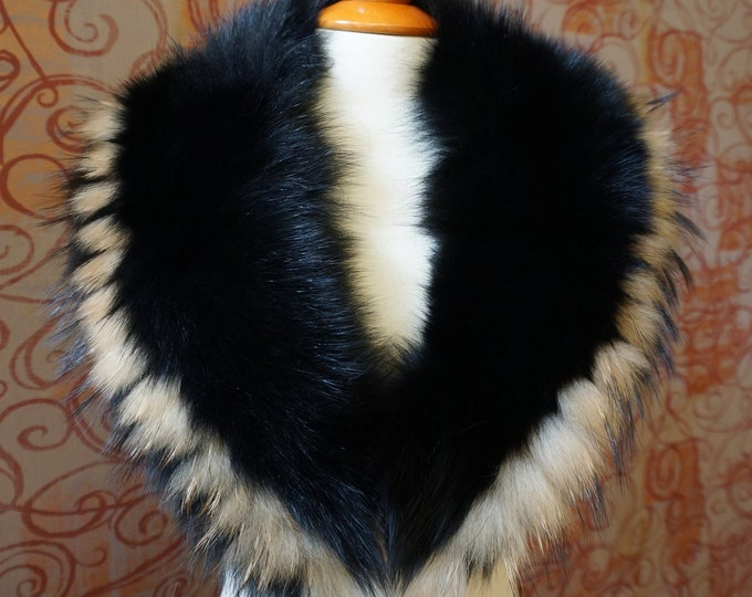 Real Large Fox with Raccoon Fur Collar,Black Fur for Leather Jacket F936