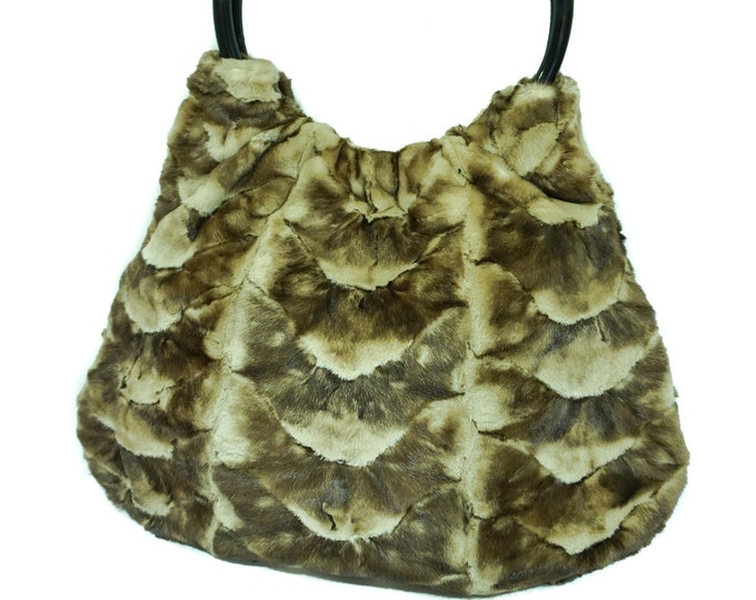Real Gold Mink fur tote bag F986