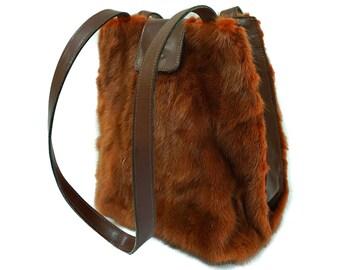 Real Bronze Mink fur tote bag F987