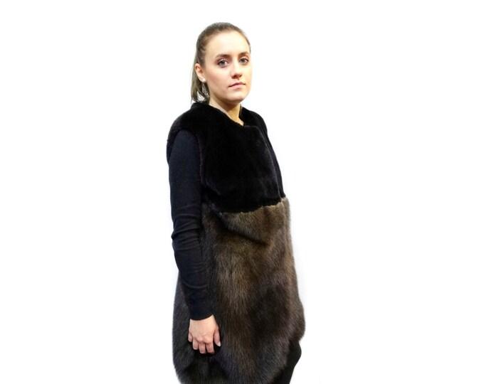Luxury Vest,Real Mink Fur & Fisher Fur Vest,Long Fur Vest F190