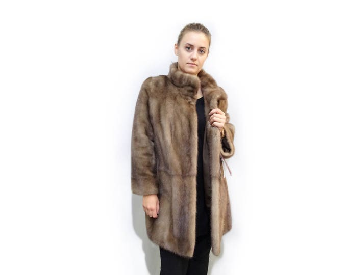 Classic Beautiful Mink Fur Coat,Pastel Fur Coat F305