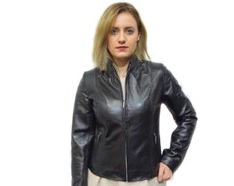 Black Leather Moto Jacket F840