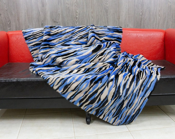 Luxury ColorFul Mink fur blanket throw