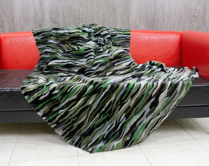 Luxury Khaki Mink fur blanket throw