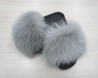 Fox Fur Slides, Fur Slippers F869