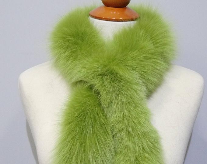 """Trendi"" Fox fur scarf - Green Scarf F828"