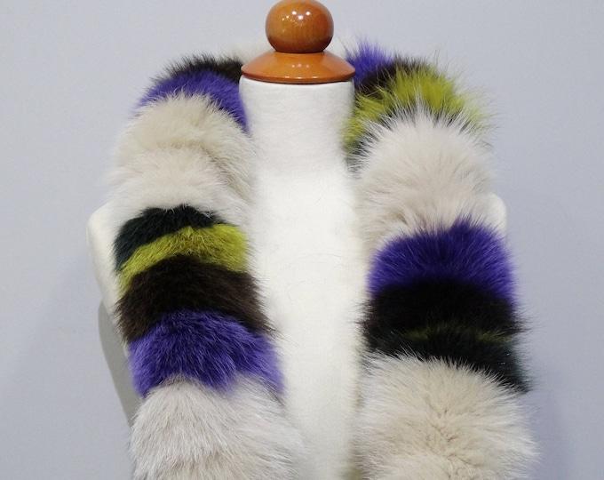 """""""Trendi"""" Fox fur scarf - Colorful Scarf F804"""