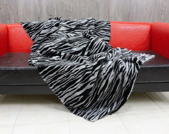 Luxury Black & Sapphire Mink fur blanket throw