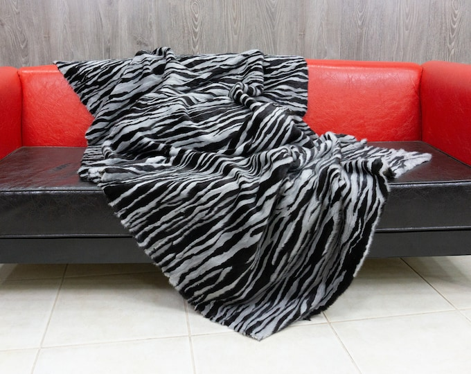 Luxury Black & Sapphire Mink fur blanket throw
