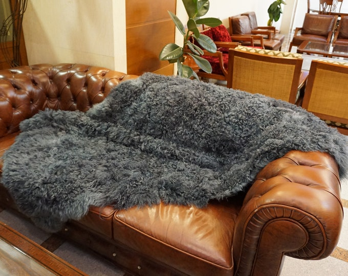 Gray Lamb Fur Blanket, Fur Throws F1009