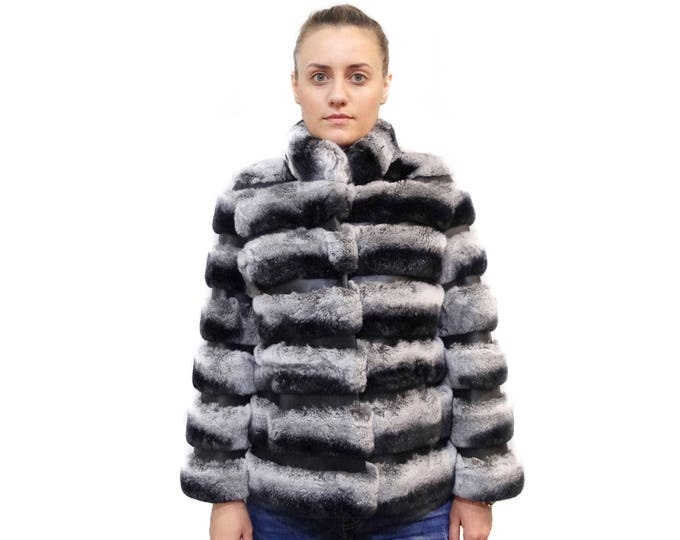 Rex Rabbit Chinchilla Coat with Leather Stripes F560