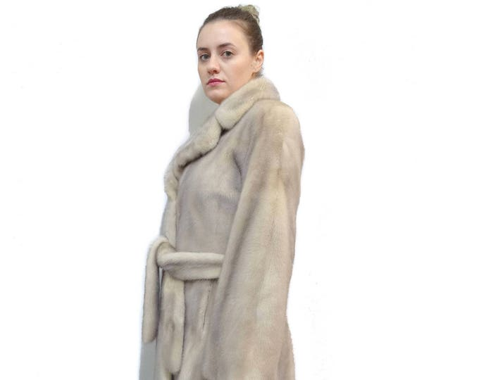 Beige Fur Coat,Long Mink Fur Coat F286