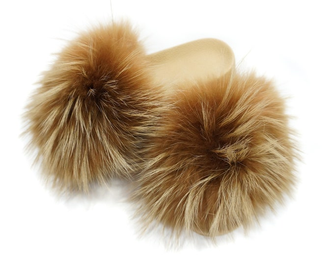 Fashion Fox Fur Slides, Fur Slides F874