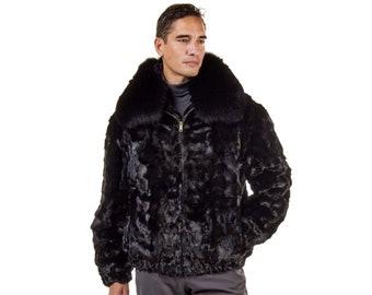 Real Mink Fur Jacket For Men F1021