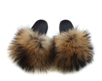 Fashion Fox Fur Slides, Fur Slides F855