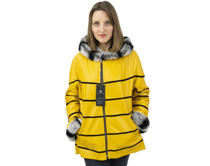 Double faced yellow leather jacket