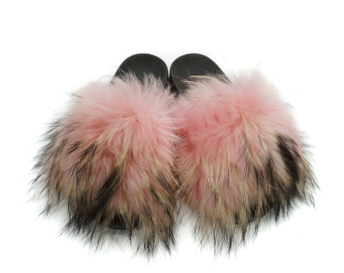 Silver Fox Fur Slides, Fur Slippers F872