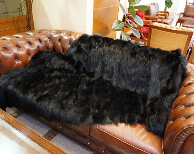 Black Fox Fur Blanket, Fur Throws F1005