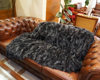 Gray Rex Fur Blanket, Fur Throws F1006