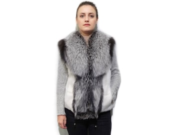 White Mink & Silver Fox Fur Vest F791