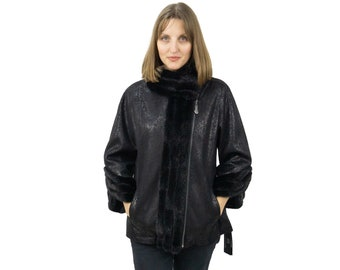 Ecological Leather Jacket with Mink