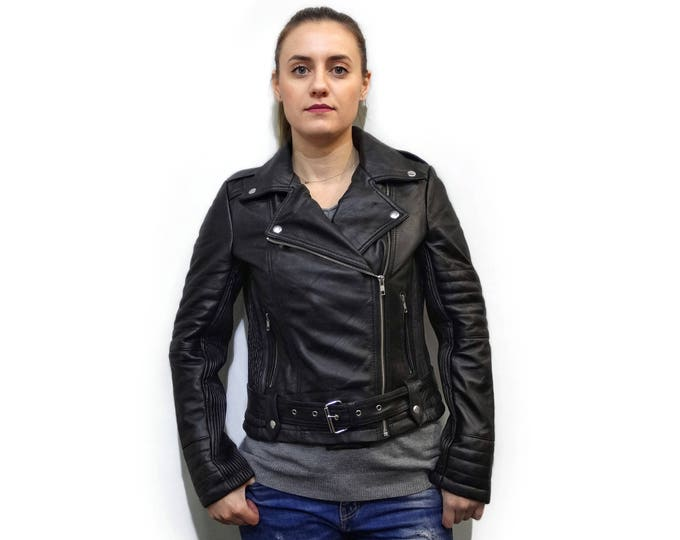 Black Leather Moto Jacket F877